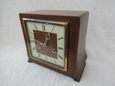 Vintage Smiths Enfield Haddon 8 Day Striking Art Deco Style Mantel Clock