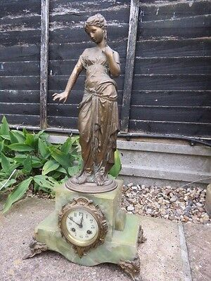 Large Antique Jules Rolez French Striking Figural Mantel Clock