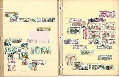 Laos Unsorted Lot on 3 Stock Pages, Colorful Collection To Pick Through