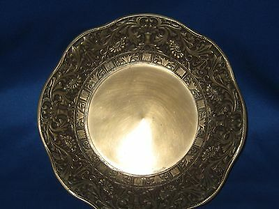 "Dia  8.5"" German Solid Engraved Embossed Brass Bowl Weighs 1.5 LBS Very Nice"