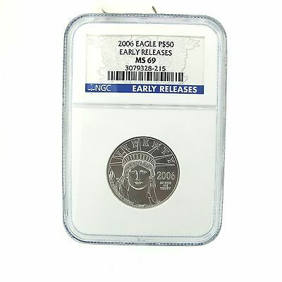 Early Release PLATINUM 2006 Statue of Liberty, NGC MS69, 1/2 oz. P$50