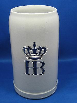 "7.5"" German Beer Stein Mug "" 1 L"" HB Crown Blue Gray Salt Glaze Stoneware K.U.F."
