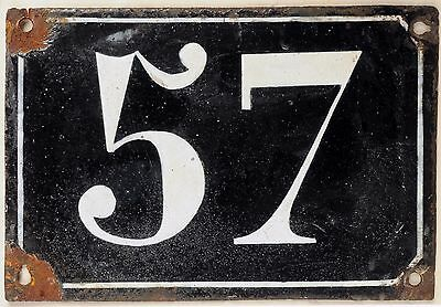 Large old black French house number 57 door gate plate plaque enamel metal sign