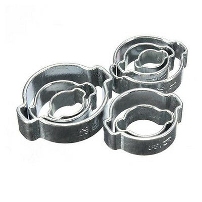 10pcs Stainless Steel Double Ear O Clip Air Fuel Hose Petrol Pipe Tube Clamp