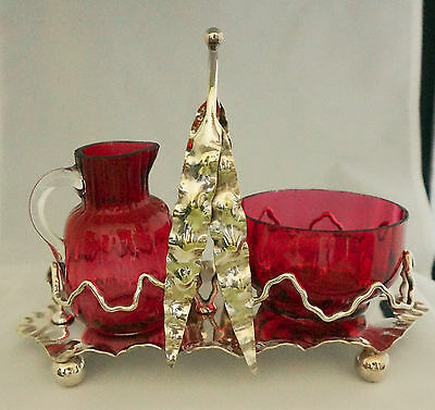 Antiq Victorian Webb Cranberry Art Glass Sugar Creamer Silver Castor Set Bishop