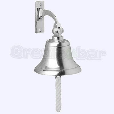 """4"""" Hanging Ship Bell - Wall Mounted / Fixing - SOLID Brass & CHROME"""