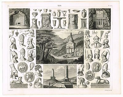 Original Antique Print Vintage 1851 Engraving Ethnology Tombs & Funerary Items