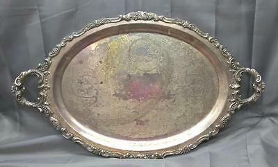 "Wallace Baroque Silver Plate 29"" x 18"" Footed Waiters 294F Tray Handles USA made"
