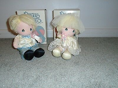 Precious Moments Musicals Bride & Groom Dolls Head Moves To Music In Box
