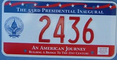 1997 BILL CLINTON Inaugural License Plate DC   2436