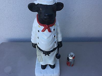 COW  WAITER CHEF  Restaurant Cafe Bistro Bakery KITCHEN STATUE SIGNED 20 INCHES