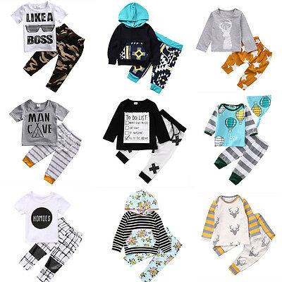 US Stock Newborn Baby Boys T-shirt Tops+Pants Leggings Outfit Toddler Clothes