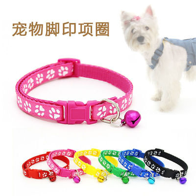 1pc Cute Small Paw Footprint With Bell Pet Safety Collar Nylon Cat Dog Puppy