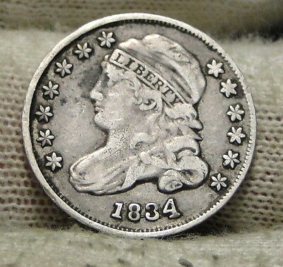 1834 Capped Bust Dime 10 Cents - Nice Coin, Free Shipping  (5825)