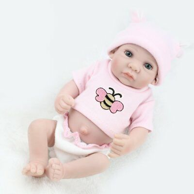 "10"" Handmade Baby Dolls Lifelike Newborn Full Vinyl Silicone Girl Doll+Clothes"