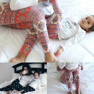 Cute Family Matching Mother Daughter Mom Girls Baby Floral Capris Leggings Pants