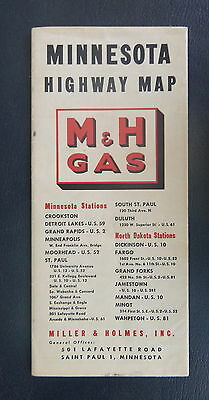 1949 Minnesota  road map M & H  oil gas oil Miller and Holmes