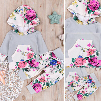 Newborn Infant Baby Boys Girls Floral Hooded Tops Pants 2Pcs Outfits Set Clothes