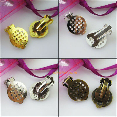 16 New Gold Bronze Dull Silver Plated Grid Flat Pad Clip On Earring 15x21mm