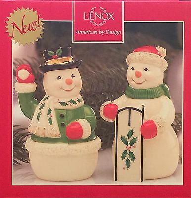"NEW Lenox Holiday Snowmen Snowcouple Salt And Pepper Shakers 4"" NIB Retails $40"