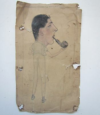 Old Pencil & Pastel Caricature of Man Smoking a Pipe - Signed