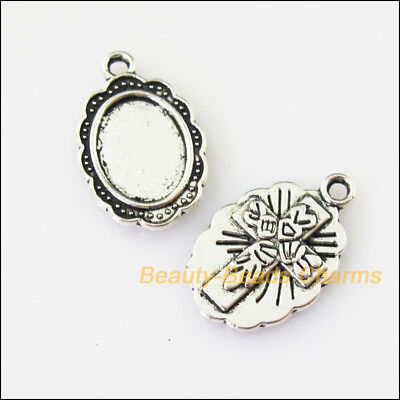 15 New Oval Cross Picture Frame Tibetan Silver Tone Charms Pendants 12x19mm