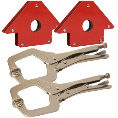 "2pc 11"" C-Clamps & 2pc 50lb Welding Magnetic Holders Magnet Clamp Mig Tools"