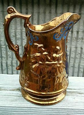 "ANTIQUE Copper Lusterware & Blue Paint Scroll DANCING COUPLE Pitcher 8"" UNMARKED"