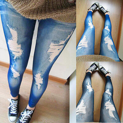 Womens Ripped Jeans Knee Cut Jeggings Skinny Fit Stretchy Ladies Stretch 6 8 10