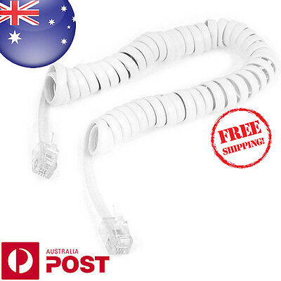 6FT 4P4C Coiled Telephone Handset Cable Curly Lead Cord Wire Coil Cable - Z440WF
