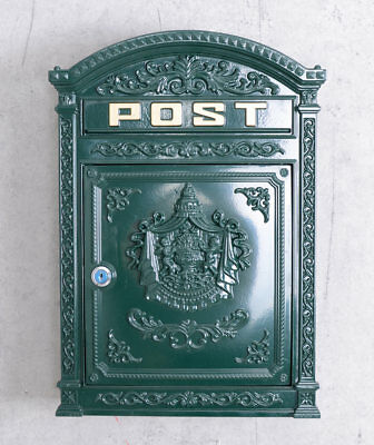 ANTIQUE cast iron LETTER BOX FOUNDERS TIME WALL LETTER BOX metal post box green
