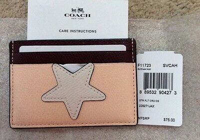 NWT COACH F11723 Star Flight Card Case Holder Crossgrain Leather W Star $75