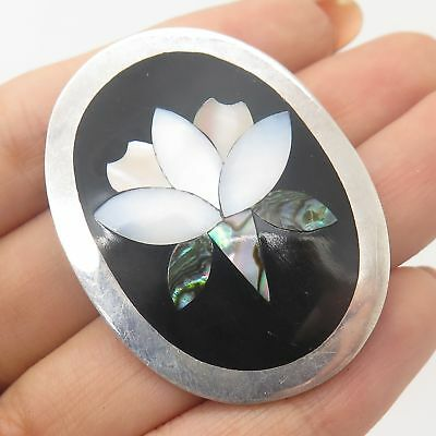 Vtg Mexico 925 Sterling Silver Real Mother-Of-Pearl Floral Handmade Pin Brooch