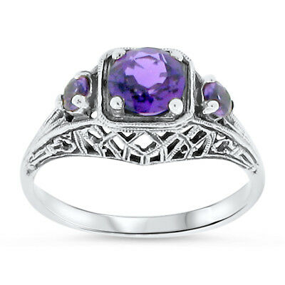 Purple Lab Amethyst .925 Sterling Silver Antique Deco Design Filigree Ring,  #35