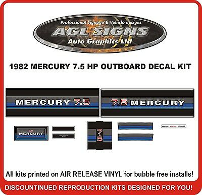 1982  MERCURY 7.5 hp  Outboard decal set   reproductions  9.8 HP