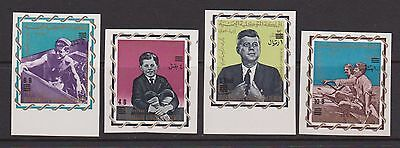 YEMEN ROYALIST 1966 President Kennedy imperforate surcharge set nhm