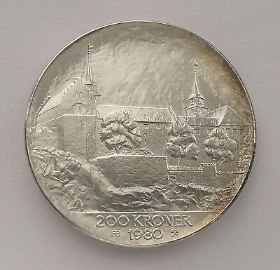 1980 Norway Silver 200 KRONER Anniversary Liberation Coin;D603