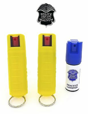 2 PACK Police Magnum pepper spray 1/2oz Refill Yellow Molded Keychain Security