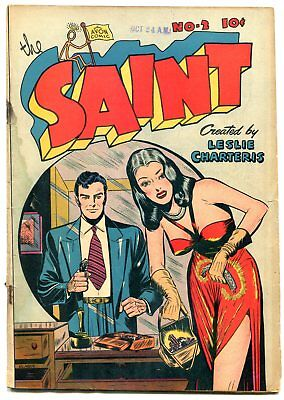 The Saint #2 1947- Good girl art cover- spicy Golden Age comi G-