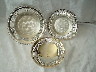 Mid Century Modern Wmf Ikora Germany Set Of Three Silver Bowls