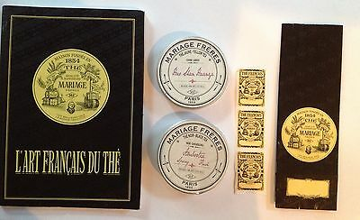 LOT Of Mariage Freres Book, French Tea Caddy Tin Metal Postcards France