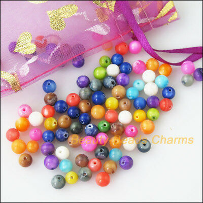 40 New Charms Natural Shell Loose Round Ball Spacer Beads 6mm Mixed