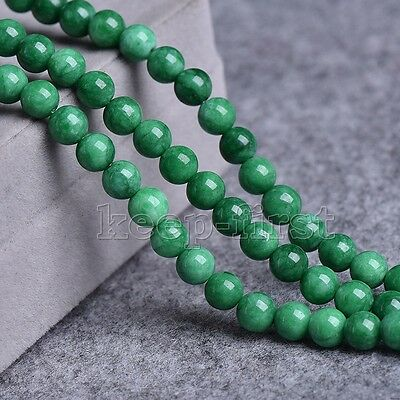 "12mm Genuine Natural Green Jadeite Jade Round Gemstone Loose Beads 15"" AAA"