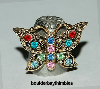 Nicholas Gish Pewter Thimble - Affixed Crystal Butterfly