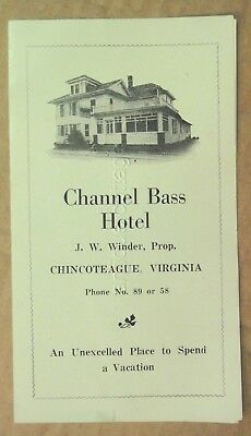 vintage/antique CHANNEL BASS HOTEL chincoteague va ADV w/PRICES j.w.winder
