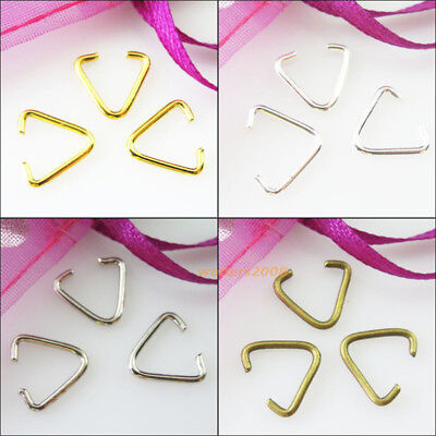 100 New Connectors Gold Silver Bronze Plated Triangle Jump Rings Bails 10.5x11mm