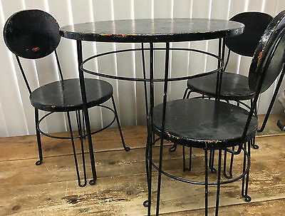 Childrens Childs Ice Cream Table Chair Set Black Metal Wood Antique Darling 4 Pc