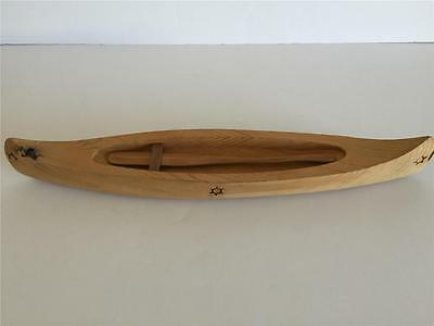 "OJIBWA CRAFTS Canada Wood Canoe and Paddle 16"" Long Stamped"