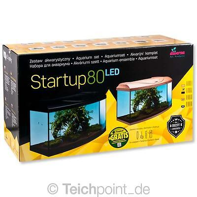 Diversa Aquarium StartUp Set 80 LED, Glasbecken komplett Aquariumset Nano
