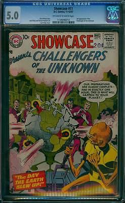 Showcase # 11  3rd app. Challengers of the Unknown !  CGC 5.0 scarce book !
